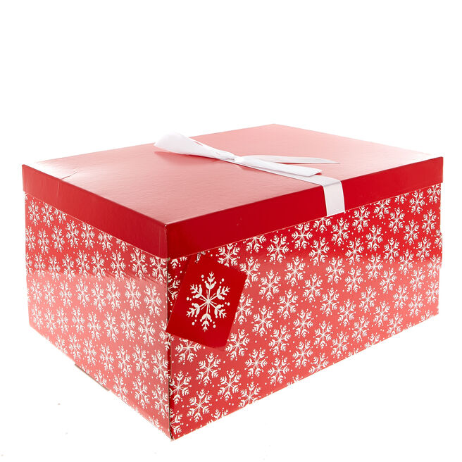 Red & White Snowflakes Flat-Pack Crate Christmas Gift Box