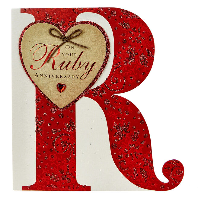 Boutique Collection 40th Anniversary Card - Ruby