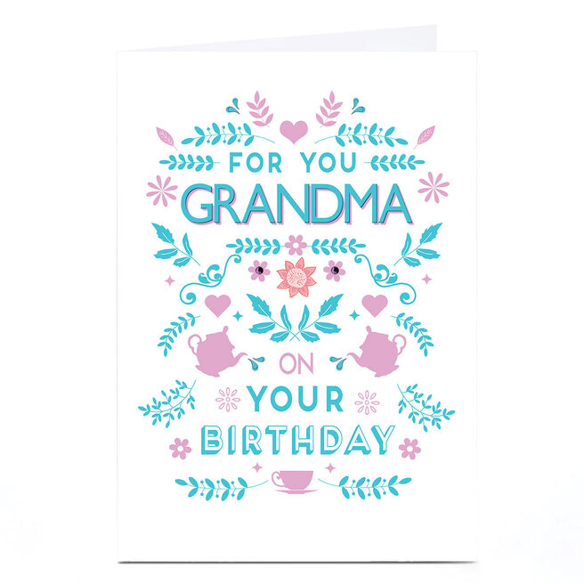 Personalised Birthday Card - Blue Tea Party [any name]