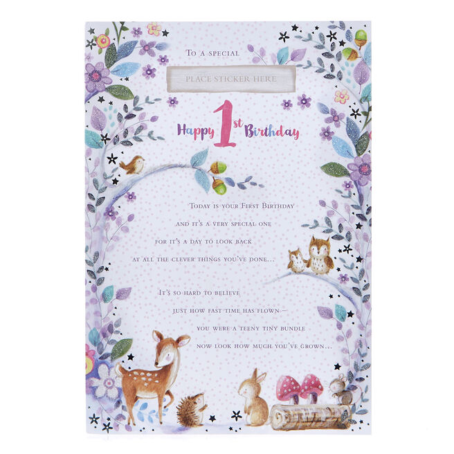Record Your Memories' 1st Birthday Card & Stickers (Girl)