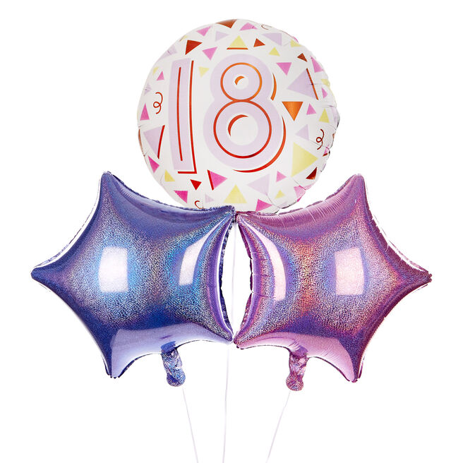 Pastel Triangles 18th Birthday Balloon Bouquet - DELIVERED INFLATED!