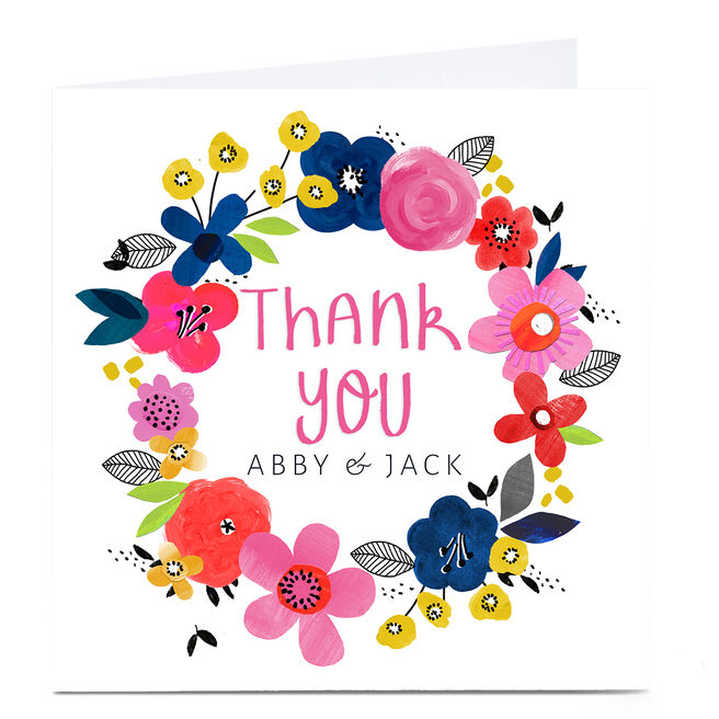 Personalised Kerry Spurling Thank You Card - Floral