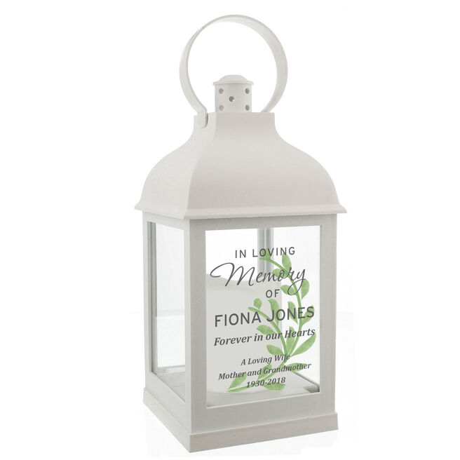 Personalised Memorial LED White Lantern - In Loving Memory