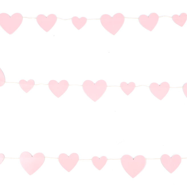 Pink Hearts Garland - 9 Ft