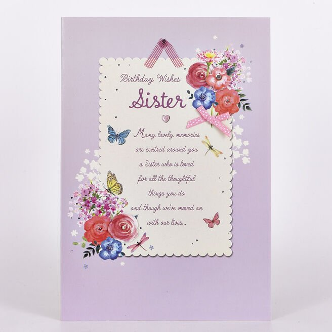 Birthday Card - Sister, Flowers