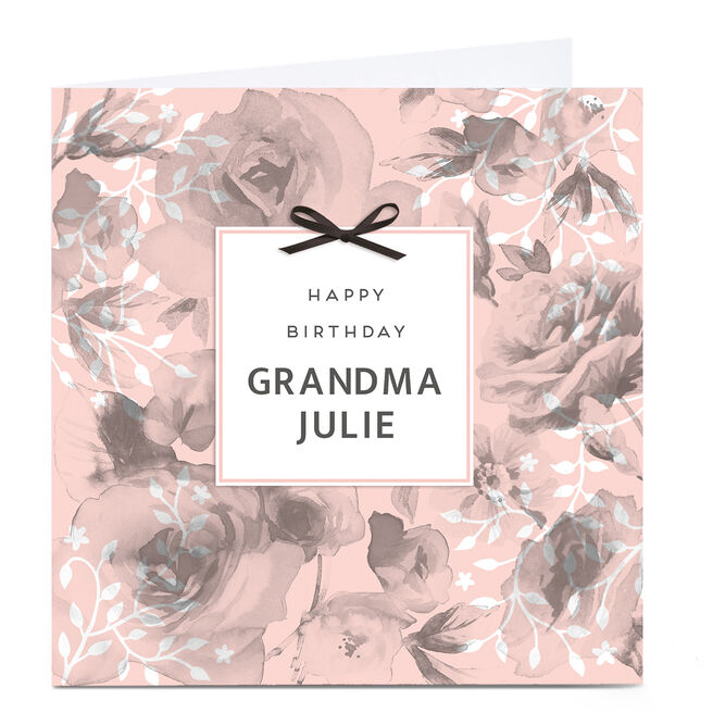 Personalised Birthday Card - Pink Roses and Bows, Grandma