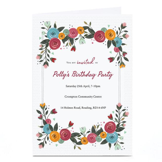 Personalised Birthday Invitation Card - Floral