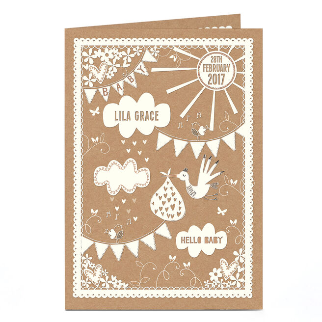 Personalised New Baby Card - Stork's Special Parcel