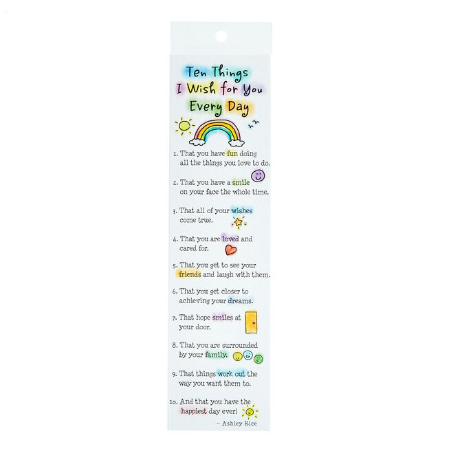 Blue Mountain Arts Bookmark - Ten Things I Wish For You