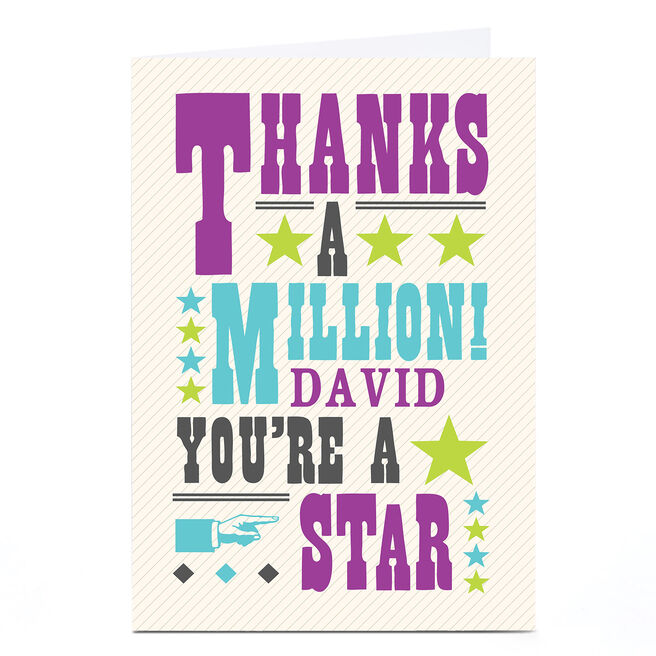 Personalised Thank You Card - You're A Star