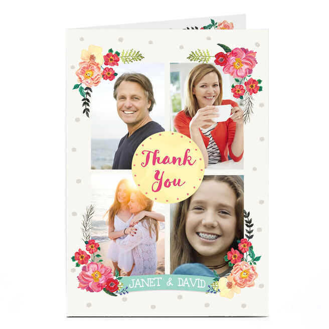 Photo Thank You Card - 4 Frames & Flowers
