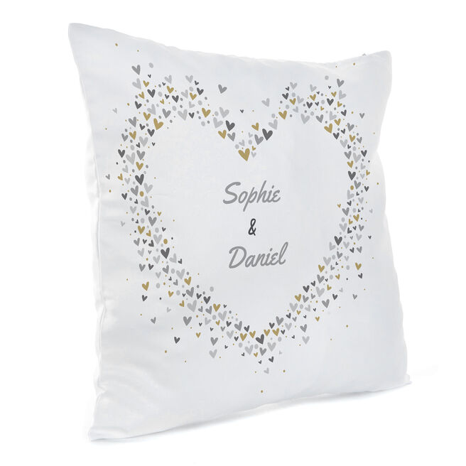 Personalised Cushion - Names In Hearts