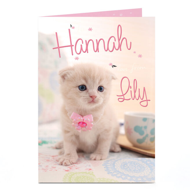Personalised Card - Kitten Wearing A Bow