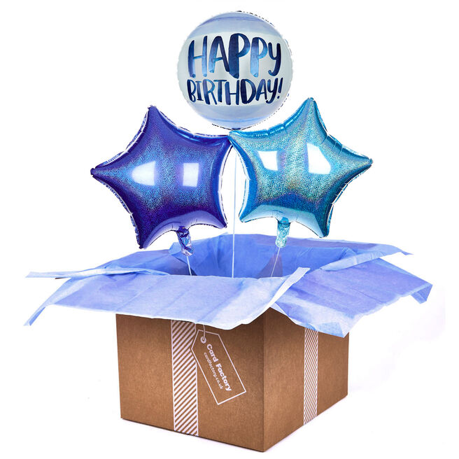 Blue Watercolour Happy Birthday Balloon Bouquet - DELIVERED INFLATED!