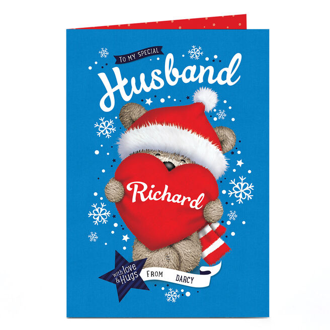 Personalised Hugs Christmas Card - To My Special Husband