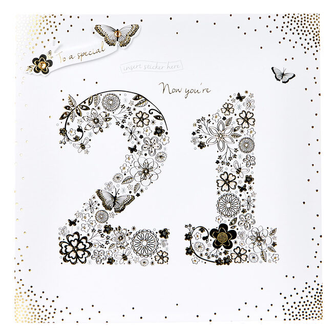 Exquisite Collection 21st Birthday Card - Any Female Recipient (Stickers Included)