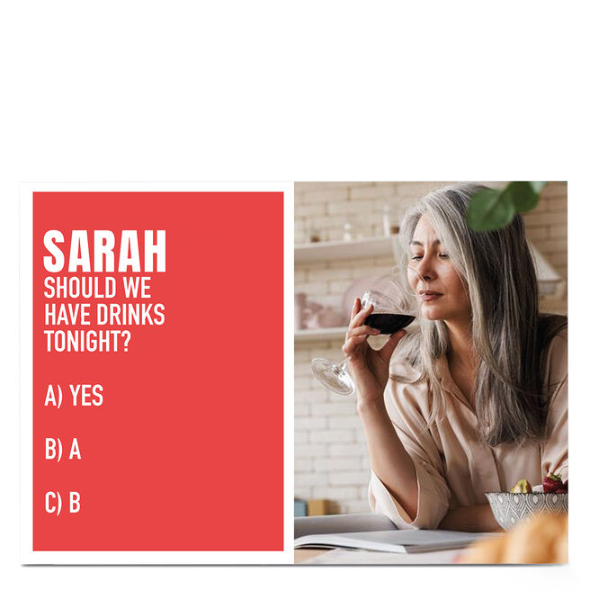 Photo Wordee Card - Drinks Tonight, Red