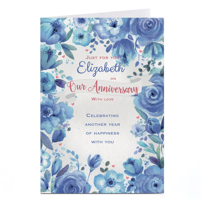 Personalised Anniversary Card - Blue Floral Happiness