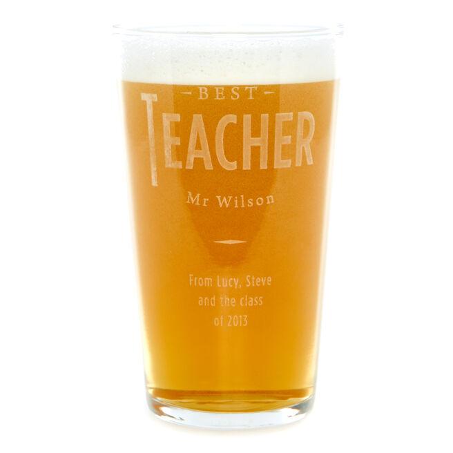Personalised Best Teacher Pint Glass