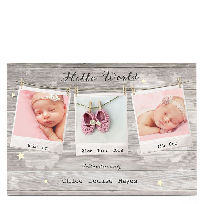 New Baby Photo Card - Hello World, Polaroids