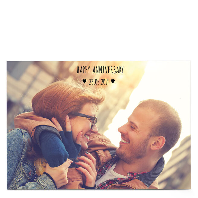 Photo Anniversary Card - Happy Anniversary, 1 Photo & Date