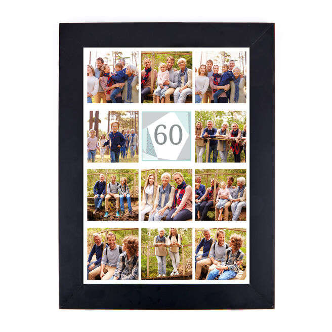 Personalised 60th Milestone Age Photo Print - Geometric Mint