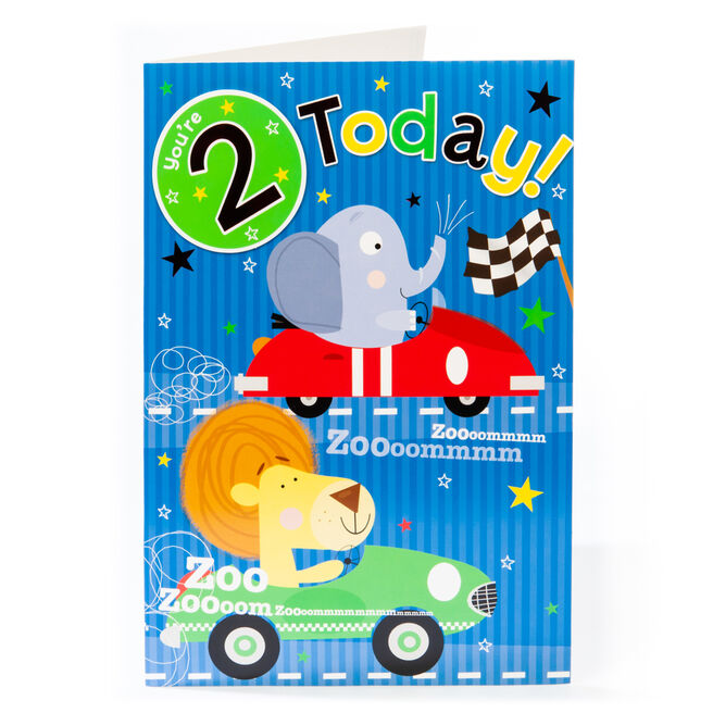 Giant 2nd Birthday Card - Zoooommmm