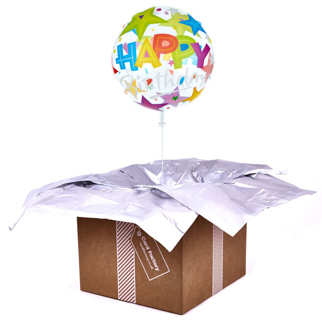 22-Inch Bubble Balloon - Happy Birthday, Stars - DELIVERED INFLATED!