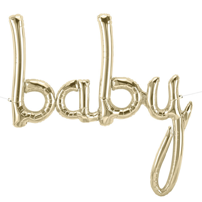 31-Inch White Gold Script Balloon - Baby