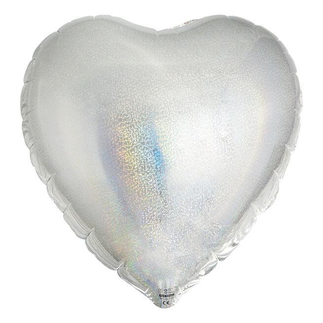 Silver Heart Foil Helium Balloon