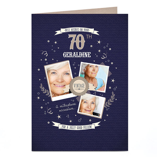 Photo Any Age Milestone�Birthday Card - Vintage Blue & Gold