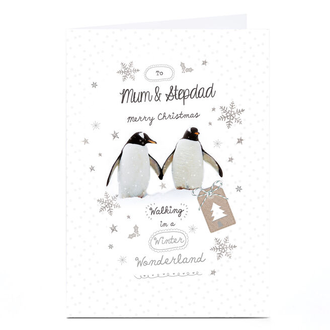 Personalised Christmas Card - Penguins Mum and Step Dad