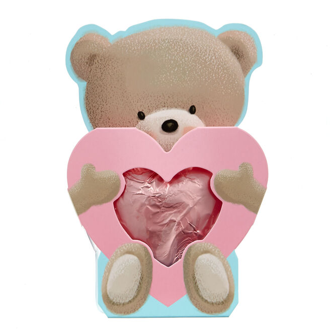 Hugs Bear Solid Milk Chocolate Heart