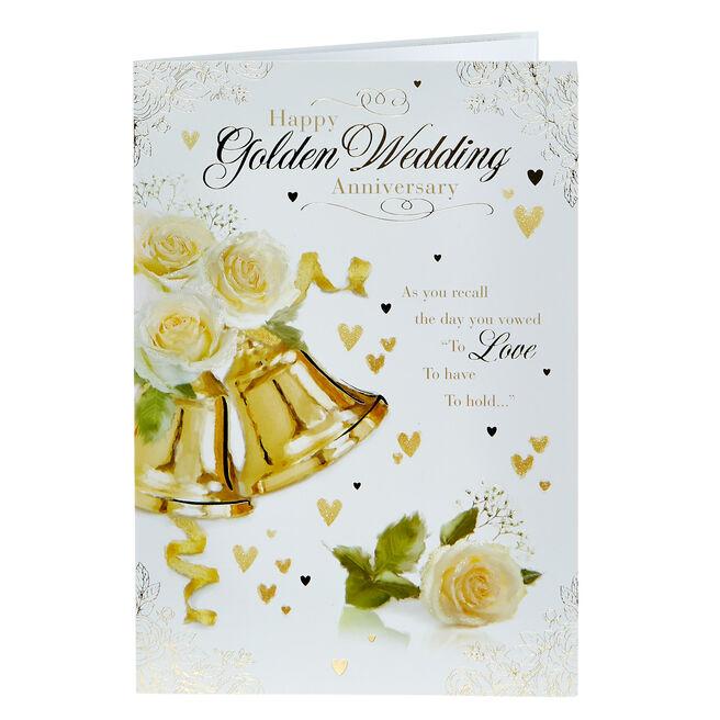 50th Anniversary Card - Golden Bells