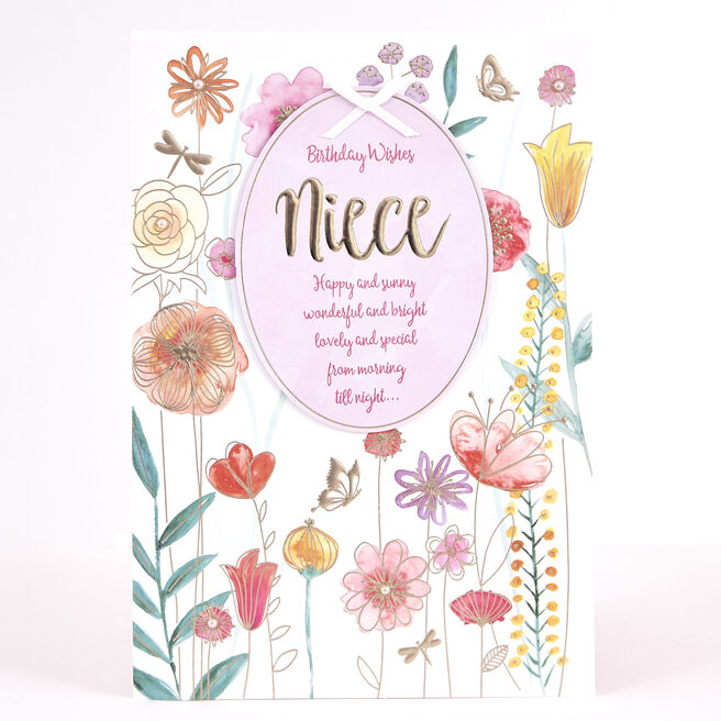 Signature Collection Birthday Card - Niece Flowers