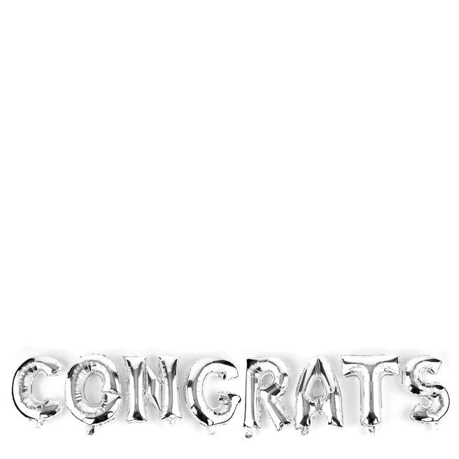 Silver Congrats Balloon Banner Kit