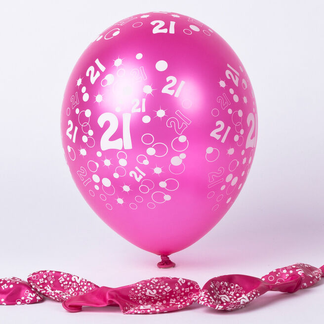 Metallic Pink Circles 21st Birthday Helium Latex Balloons - Pack Of 6