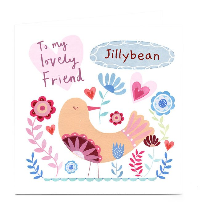Personalised Lindsay Loves To Draw Card - Lovely Friend