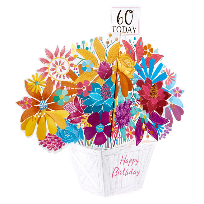 Boutique Collection 60th Birthday Pop-Up Card - Flower Box