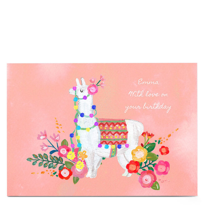 Personalised Kerry Spurling Card - Floral Llama [Any Message]