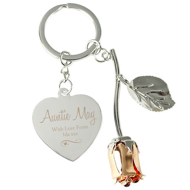 Personalised Silver Plated Rose & Heart Keyring