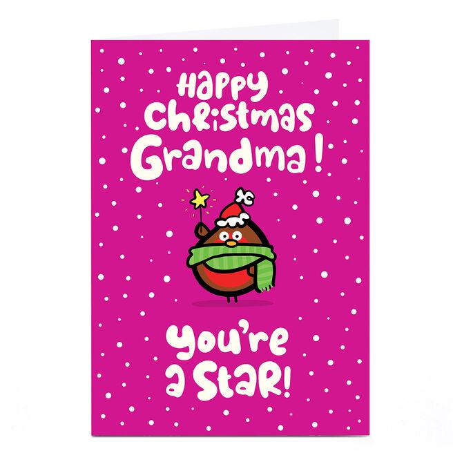 Personalised Fruitloops Christmas Card - Grandma Star