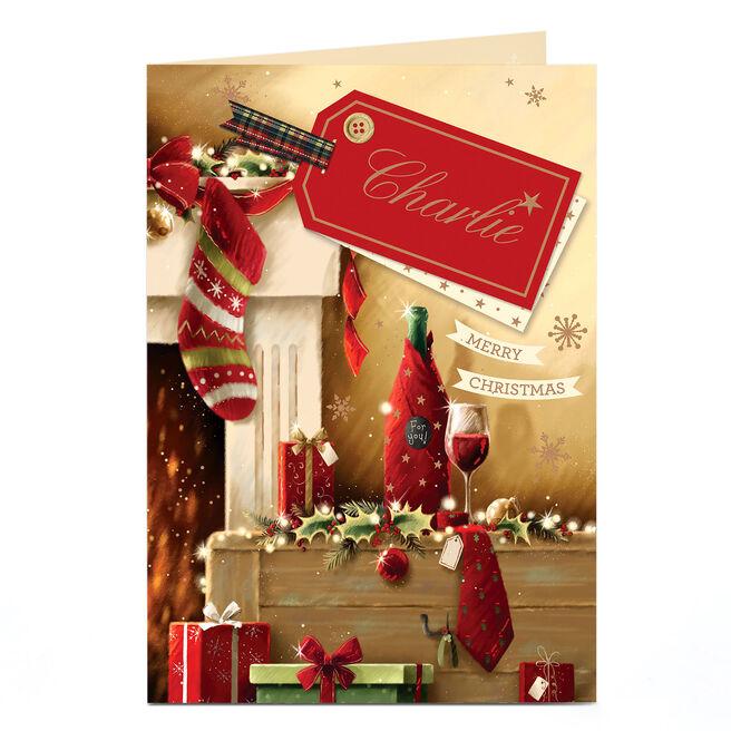 Personalised Christmas Card - Stockings & Wine