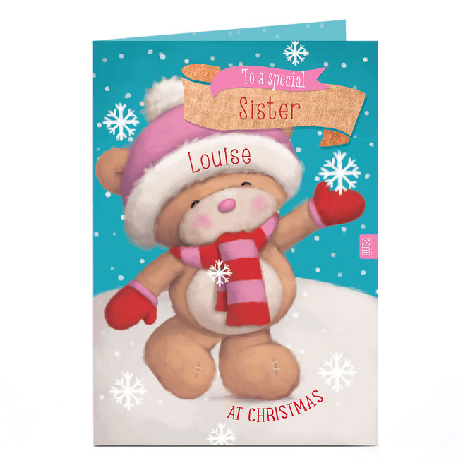 Personalised Hugs Bear Christmas Card - Catching Snowflakes