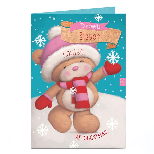 Personalised Hugs Bear Christmas Card - Catching Snowflakes