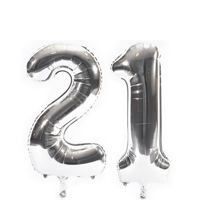 Age 21 Giant Foil Helium Numeral Balloons - Silver (deflated)