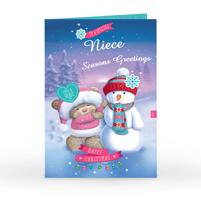 Personalised Hugs Christmas Card - Special Snowman Niece