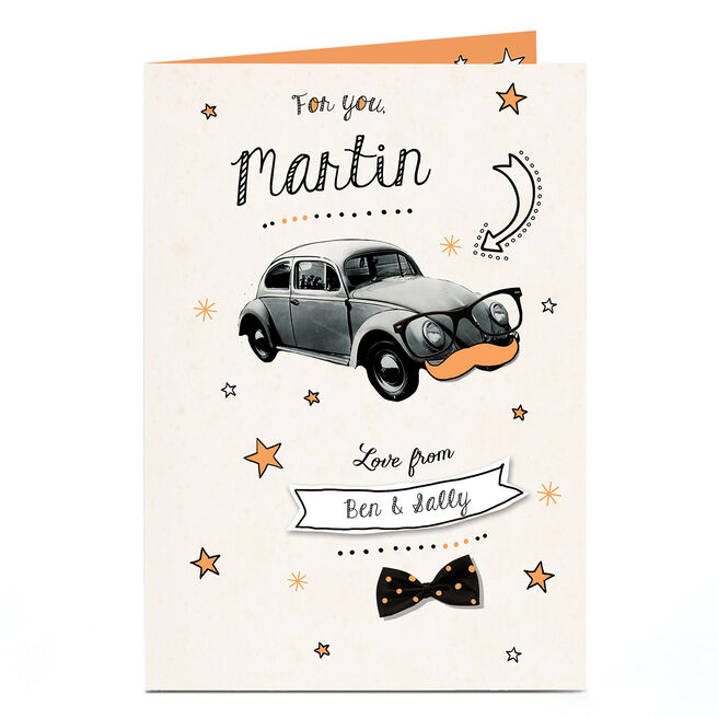 Personalised Card - Car, Moustache & Glasses