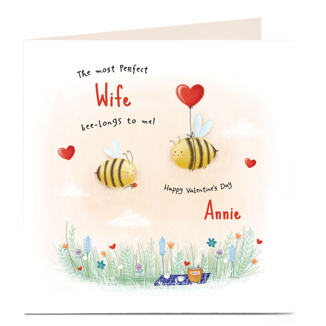Personalised Valentine's Card - Bumblebee Balloons