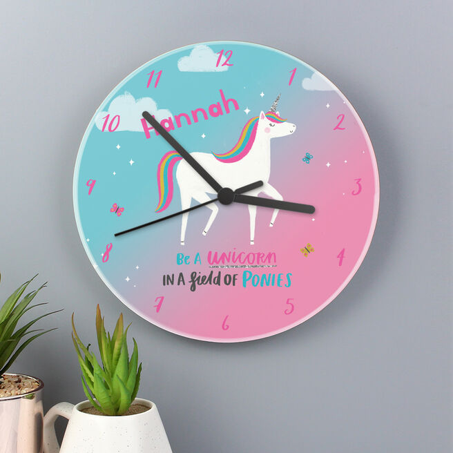 Personalised Wooden Clock - Unicorn